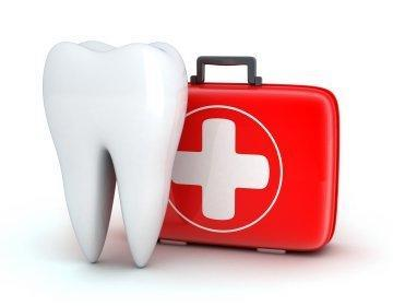 illustrated tooth next to first aid kit | emergency dentist monroe wa