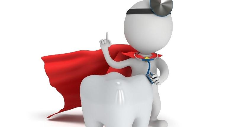 Little human-like figure dressed as dentist with super hero cape standing next to tooth