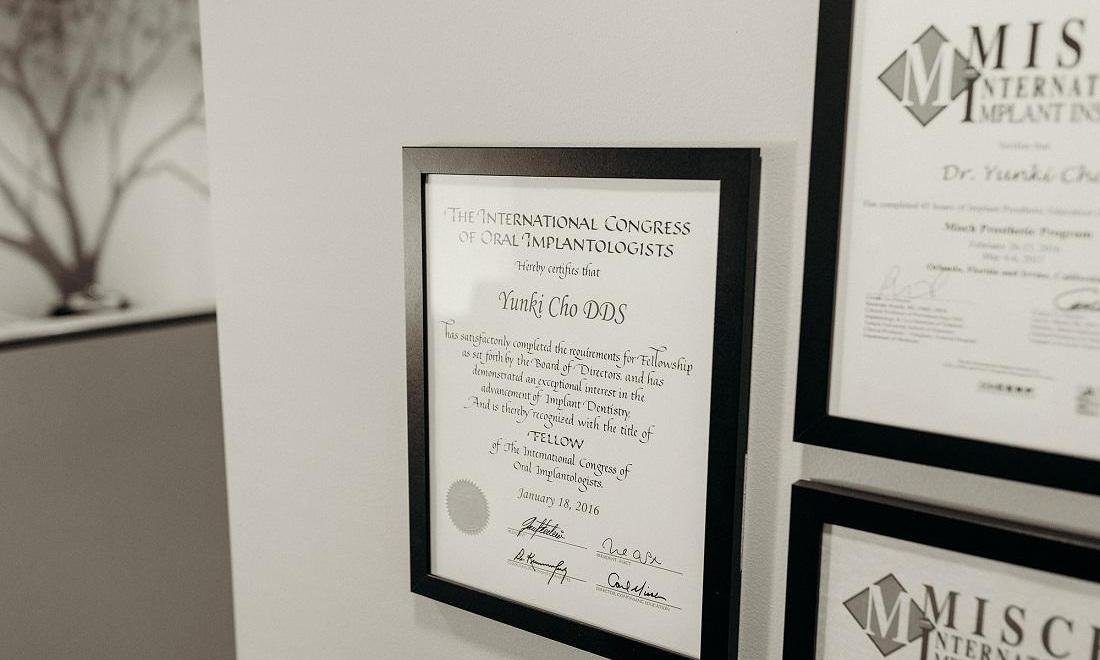 Certifications for Dr. Cho